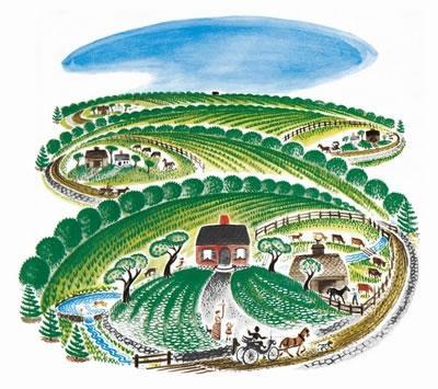 乡村风景小房子素描画