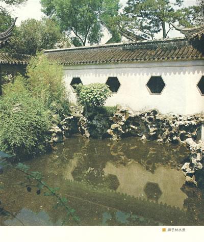 古典园林水榭手绘